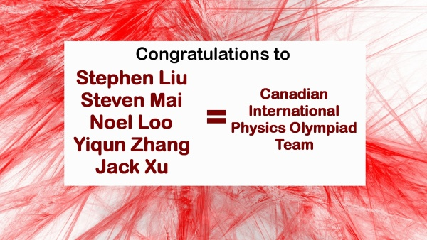Canadian International Phsyics Olympiad Team